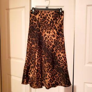 Forever21 Leopard Print Midi Skirt